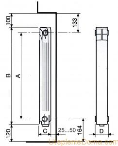 Радиаторы отопления алюминиевые размеры секции