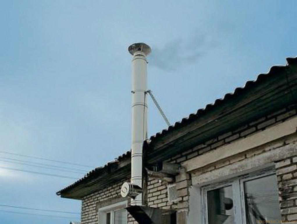 Дымоход из оцинковки для газового котла в частном доме проход стены сэндвич дымоходом