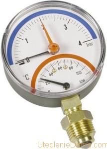 Показывает давление в системе отопления и расширительном баке