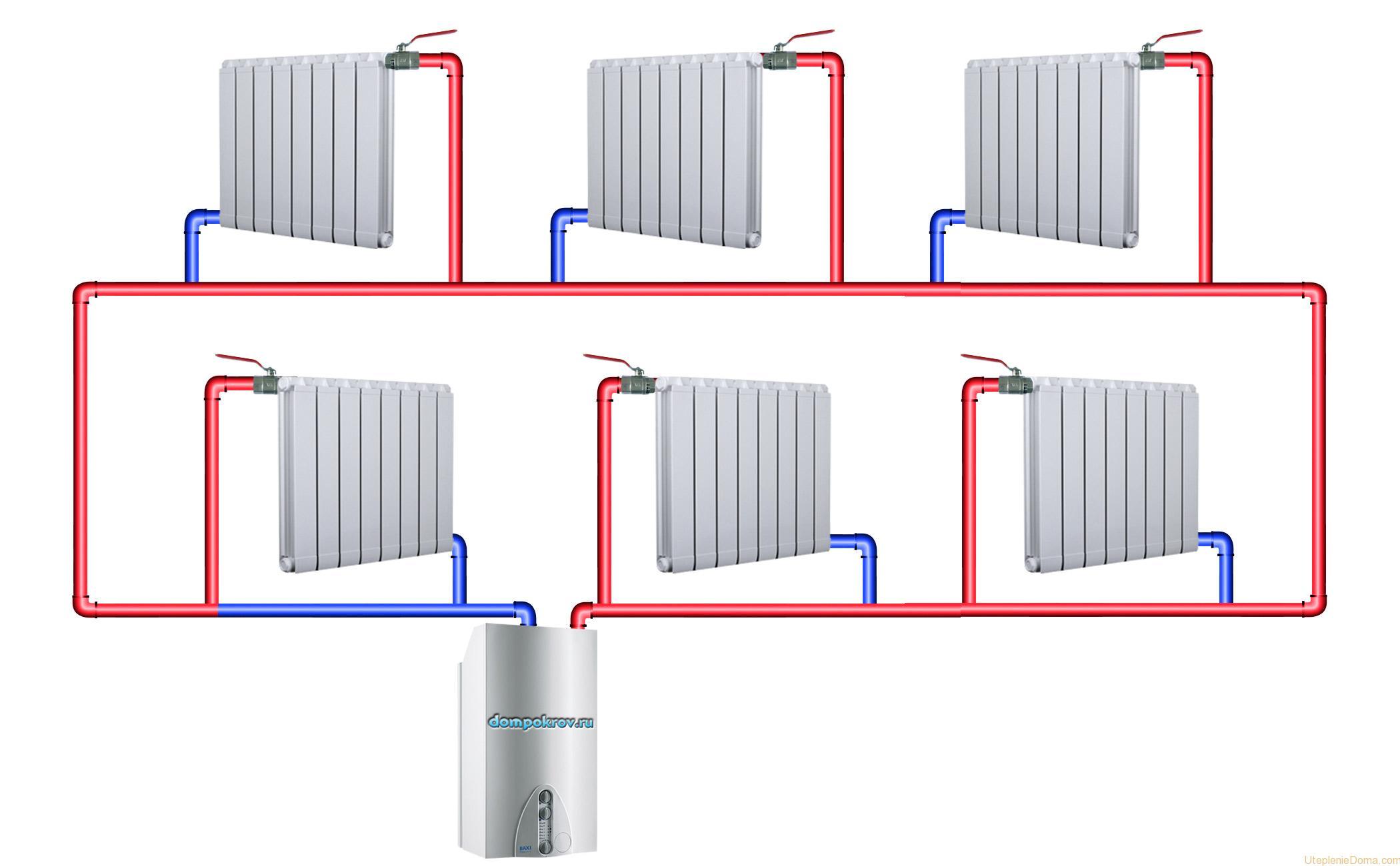 схема коллекторного отопления коттеджей