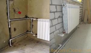 прокладка труб отопления в стене