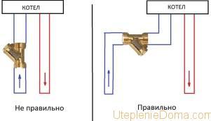 Схема монтажа фильтра отопления с электрокотлом