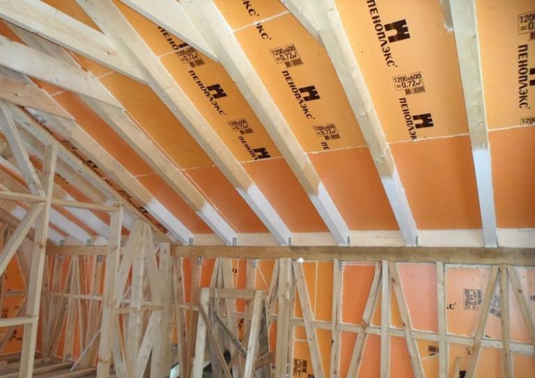 Утепление крыши изнутри пеноплексом